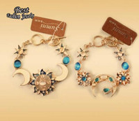 Wholesale European Vintage Women s Bracelet Moon Sun Decoration Blue Simulated Jade Beautiful Female Accessory