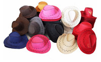 Wholesale Summer Spring Sun Hat fashion fuax leather western cowboy hats Men and Women tourist Caps Outdoor Caps Straw Cowboy Colors