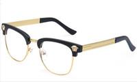 achat en gros de cadres de gros pour lunettes-Gros-demi-trame Marque Lunettes Homme Nouveau 2015 Lunettes Métal femmes optique Lunettes cadre myope Lunettes Vintage Oculos de grau