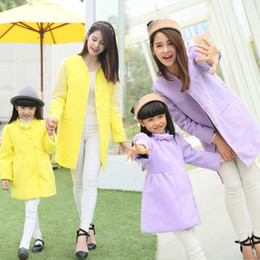 Wholesale-Girls Fashion Wool Coat Family Coats Clothes for Mother and Daughter Fashion Women Woolen Coats Long Style KR01
