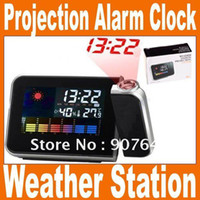 Cheap Wholesale-Free Shipping Weather Multi-Function temperature humidity Station LCD Projection Alarm Clock Black Nice Gift