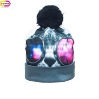 Wholesale Hot Color D Digital Printing No Eaves Beanie Pompoms Fashion Winter Knitting Hat Women And Men And Children