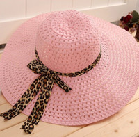 Cheap Wholesale-New 2015 fashion Folding Sun helmet Hollow straw hat for women summer Beach cap Bow ribbon hats floppy hat