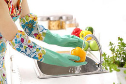 Wholesale-Warm Rubber Waterproof Long Gloves Kitchen Wash Dishes Cleaning Latex Gloves