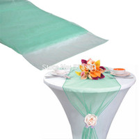 cotton table runner - quot x108 quot cm High Quality mint green Organza Table Runner for Wedding decoration Banquet Venue Decoration