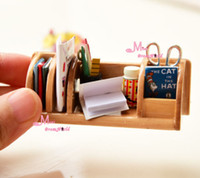 wood bookcase - Dollhouse Miniature Wood Bookshelf Books Pen Scissors Furniture Toy For Doll Bookcase