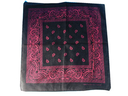 Wholesale-2015 New Hip Hop Black and Pink Paisley Bandanas Head Wear Bands Scarf Neck Wrist Wraps For Mens