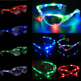 Wholesale-Wholesale PrAssort Flashing LED Light Up Glasses Blinking Sunglasses Rave Party Xmas Supply