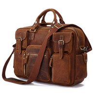 crazy horse leather - Hot Sell Rare Crazy Horse Leather Brand Men s Business Briefcase Laptop Bag Dispatch Shoulder FREE SHIP