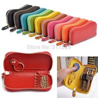 Wholesale New Fashion Portable Unisex Genuine Cow Leather Car Key Holder Women Men Clutch Coin Purse Key Bags Key Wallets