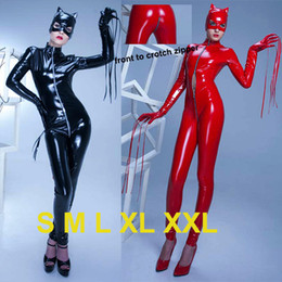 Wholesale Black Red Exotic Catwoman Catsuit Top PVC Vinyl Leather Bondage Bodysuit Open Crotch Zipper Zentai Halloween Carnival Cosplay