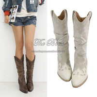 western cowboy boots - Autumn White Black Pointed Toe Chunky High Heel Mid Wide Calf Slouchy Vintage Western Boots Cowgirl Cowboy Boots For Women