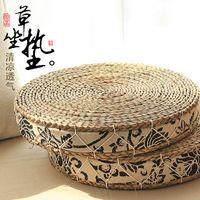 achat en gros de tissu gros de yoga-Gros-pastorales épais paille tatami fenêtres futon coussin de coussin et mat de tissu de tapis de yoga méditation trompette ronde