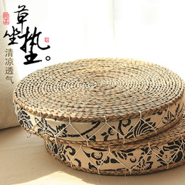 Wholesale-Pastoral thick straw tatami futon cushion cushion windows and pad cloth mat yoga meditation round trumpet