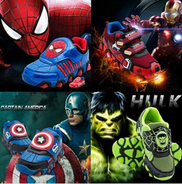 Wholesale Kid Shoes Flasher The Avengers Sneakers Baby LED Famous Brand Spider Man Iron Man Captain America The Hulk Sport Shoe With LIght