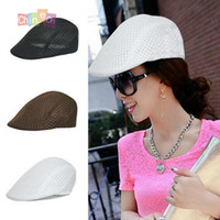 Wholesale Men Women Simple Solid Color Breathable Mesh Summer Flat Beret Caps Casual Cabbie Newsboy Hat Christmas gift women