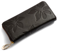 Wholesale New Fashion Style The best Genuine Leather Zip Around Flower pattern Lady Women Long Wallet Purse Handbag