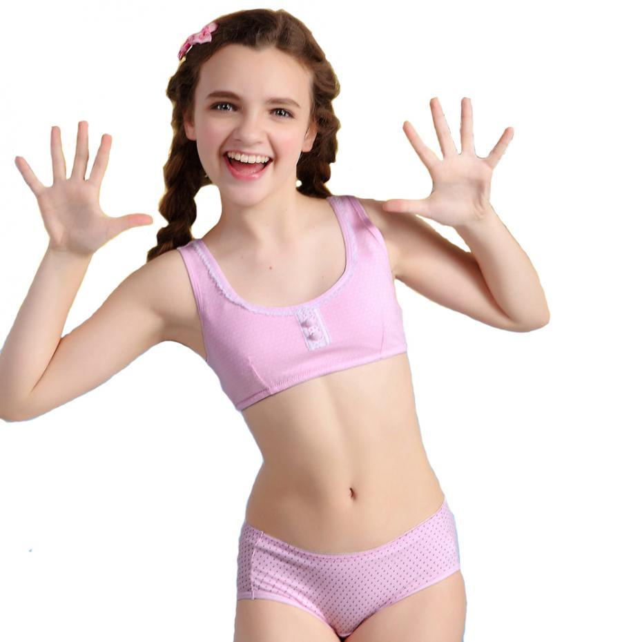 Little girl nipple Wholesale-2015 New Arrival Training Bra & Matching Pants for Young Girl  Training Wireless Young Thin Bra Set for Student S8834 Set Sock Set  Jewellery Set ...