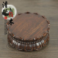 african ebony - Redwood African ebony black sticks of wood canoe Guanyin Buddha lotus pedestal base stone vase wood ornaments