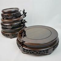 aquarium wood - Mahogany pedestal vase base rocks Aquarium base black sticks of wood carving ornaments base teapot