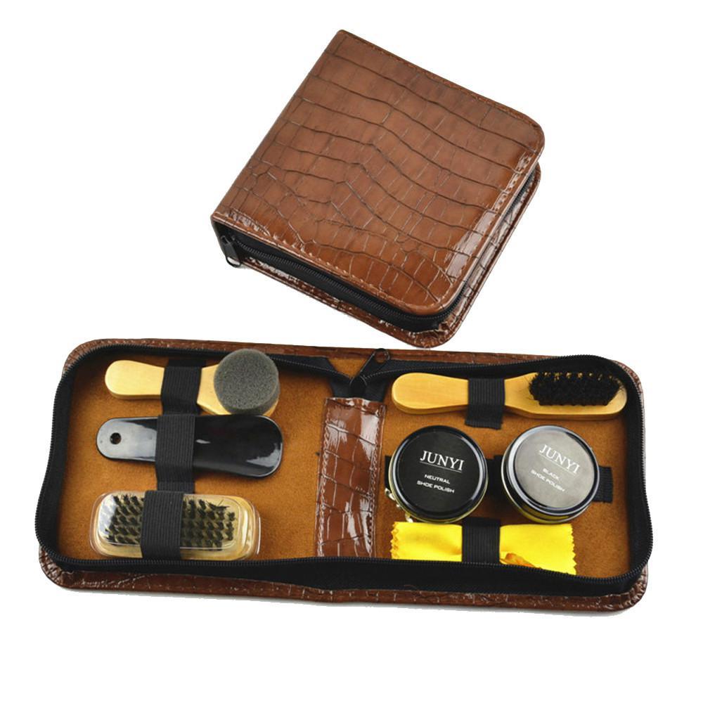 best wholesale leather shoe care kit shine black