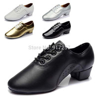 Wholesale new arrival Brand New Fashion Style Men Children s Ballroom Latin Tango Dance Shoes heeled Sales black white silver gold color