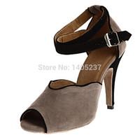 Wholesale In Stock Women s Latin Dance Shoes Customize Heel Flock Buckle Ballroom Dancing Shoes for Women Shoes Black Gray Green