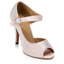 Jazz rosa en Línea-Al por mayor-Marca zapatos de baile latino de baile Rhinestone Salsa Jazz Tango Dancing Shoes For Women Sapatos Femininos plataforma Pink Women Shoes