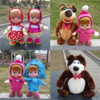 Wholesale Promotion New Masha and Bear Toys Singing Speaking Dancing Russian Language Masha and Bear Dolls Electronic Toys Gifts