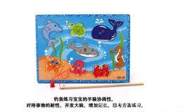 Wholesale Child swimming toys fish bulk magnetic magnetic fish wooden chidren puzzle summer child bath toys