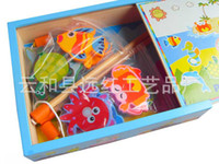 Wholesale exempt postage wooden toys wooden fishing toy magnetic fishing family games educational toys