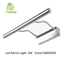 bathroom mirror styles - Tanbaby Bathroom Mirror wall light Soft tube W led SMD Sumsing chip Modern style Stainless stell wall lamp