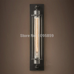 Wholesale Height cm V V Black Rust Color Industrial Metal Wall Lamp Edison T30 Bulb Corridor Wall Sconce Lights