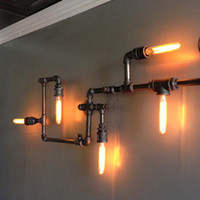 american design industries - New Designed American Loft Vintage Water Pipe Wall Sconce Industry Meal Wall lights with Edison Bulbs