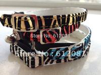 Wholesale fashion style pet products cat collar zebra pattern leopard four colors shoe buckle