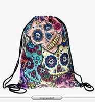 Wholesale New Fashion Time limited Daily Backpack Unisex Mexican Skull Women Backpacks Blue Softback D print polyest