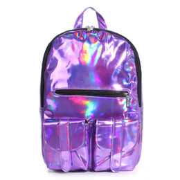 Wholesale-New 2015 High Quality Hologram Laser Backpack Men And Women Pu Leater Backpack College Style School Bags Travel Bags