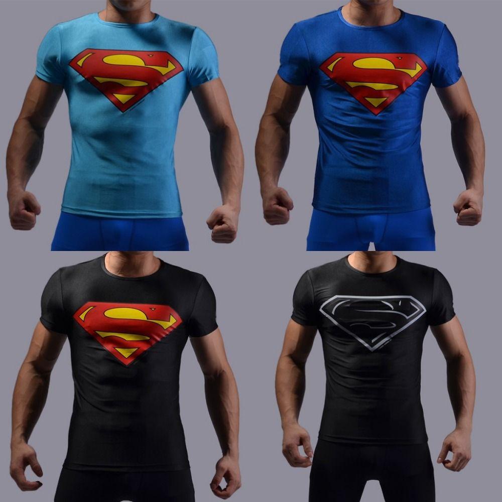 Shirt new design 2015 - Wholesale 2015 New Compressed 3d T Shirt Hot Superman Batman T Shirt Men Sports Quick Dry Fitness Clothing Captain America Clothing Footwear Clothing Design