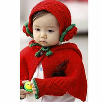 Cheap Wholesale-2015 Winter Fashion Baby Girls 3PC Set Weave Knitting Hat Cap Cape Baby Coat Scarf Red Kids Clothes Crochet Patterns Free SJM