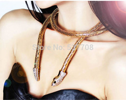 Wholesale Hiphop Punk Antique Gold Gold Silver Black Plated Crystal Snake Long Necklace Women Sweater Waist Chain Clothing Accessories