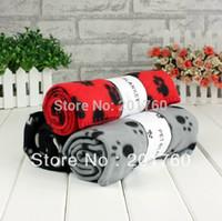 Wholesale New Paw Print Dog Cat Soft Pet towel Fleece Blanket Mat