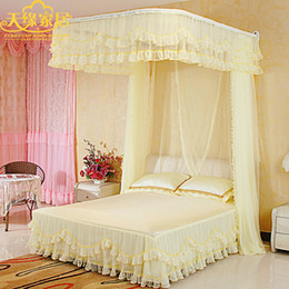Wholesale Victoria beautiful poetry Korean u type aluminum rail nets pull screen marriage palace princess bed mantle nets