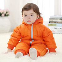 baby ski suits - High Quality Fashion Baby Winter Coat Boy Girl Romper Baby Autumn Winter Parkas Set Ski Suit Long Baby Romper K