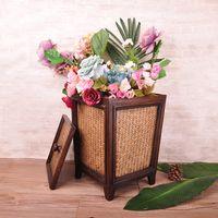 bamboo trash - Southeast Asian green bamboo crafts wooden covered trash barrel storage barrels Storage