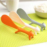 Wholesale The New Design Korean Cute Creative Squirrel Spoon Lap Sticky Tables Spoon Color Random HG