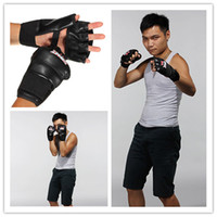 gloves leather gloves - Pair PU Leather Punching Bag Boxing Gloves Half Mitten MMA Muay Thai Training Punching Sparring Fitness Mitts