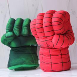 Boîte d'araignée jouet à vendre-Gros-Lot de 2 Gants incroyable Hulk Smash Mains + Spider Man Spiderman peluche scène Type Props Jouets Punching Fist réglé