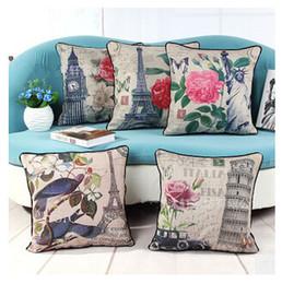Wholesale architectural pattern retro thick cotton sofa pillow cushion cover CJJ0048