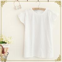 Wholesale Japanese Sen female line in the summer of new women draping Feifei sleeve embroidered short sleeved shirt