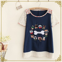 Wholesale Japanese Sen female line in the summer of new women loose cotton patch embroidered lace T shirt